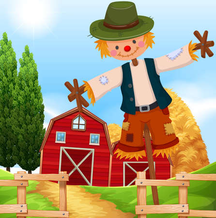 scarecrow: Farm scene with barn and scarecrow illustration