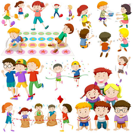 Children playing different kinds of games illustration
