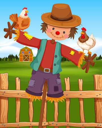 Scarecrow and chickens on the farm illustration Illustration