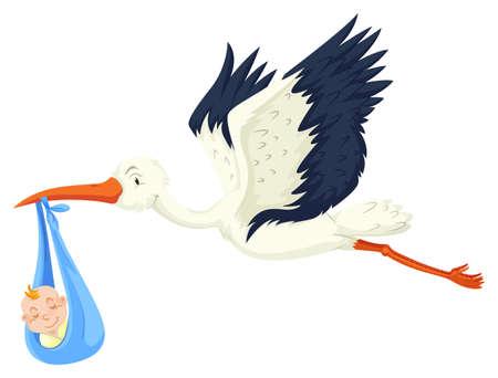 delivered: Baby boy being delivered by crane illustration