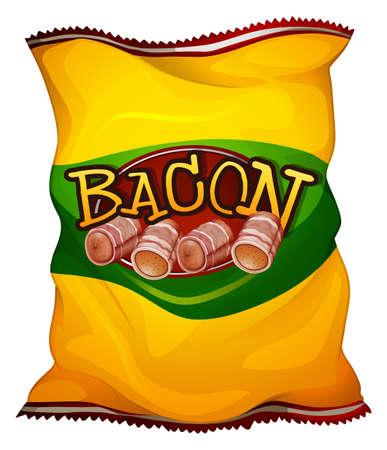 bacon art: Yellow bag of bacon illustration Illustration