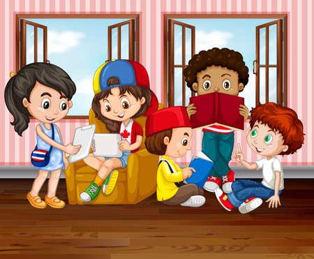 reading room: Children reading books in room illustration Illustration