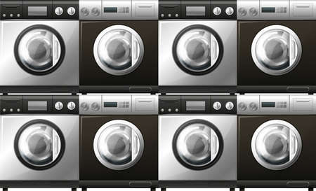multiple image: Washing machines in black and white illustration