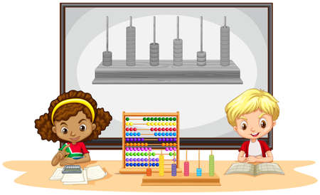 school girl: Students learning math in classroom illustration