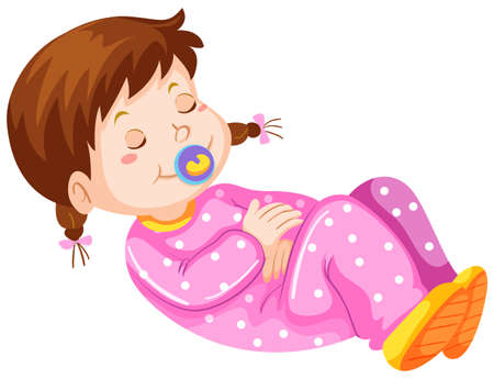 toddler: Girl toddler with pacifier napping illustration Illustration