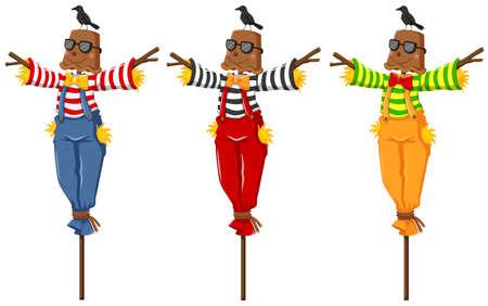 overol: Tres espantapájaros en los palillos de madera ilustración Vectores