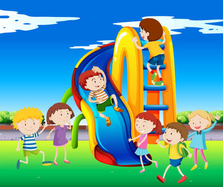 kids outside: Many children playing on slide illustration
