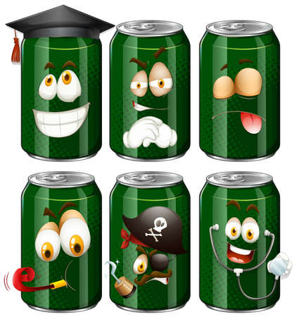 Six cans with facial expressions illustration