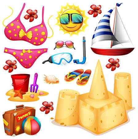 sandles: Summer set with bikini and sandcastle illustration
