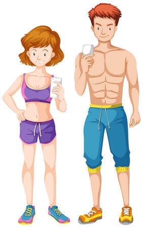 firm: Man and woman with firm body holding cell phone illustration