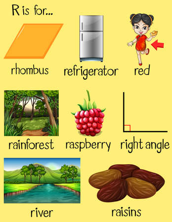 raisin: Many words begin with letter R illustration
