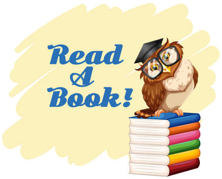 owl illustration: Poster with owl and books illustration