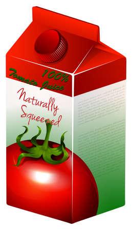 tomato juice: Carton of tomato juice illustration Illustration