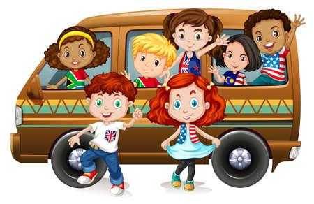 Boys and girls riding on van illustration