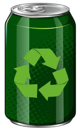 Recicle el símbolo en la ilustración lata verde