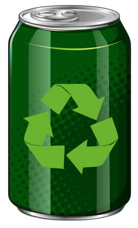 soda: Recycle symbol on green can illustration Illustration