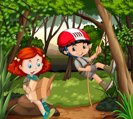 hiking: Boy and girl hiking in the woods illustration Illustration
