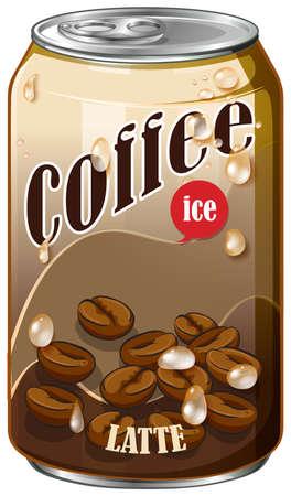 Café de hielo en la ilustración lata de aluminio