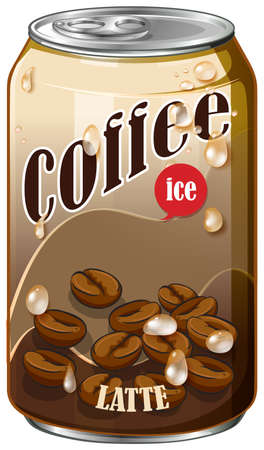 aluminum: Ice coffee in aluminum can illustration Illustration