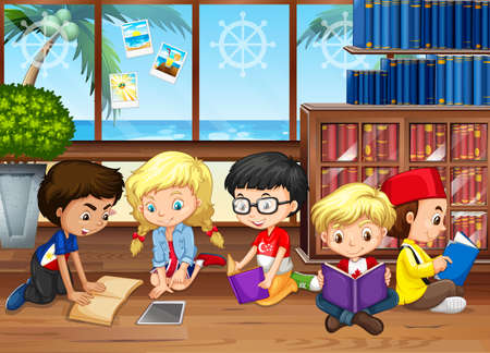 books library: Children reading books in the library illustration