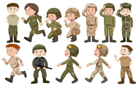 feminino: soldados do sexo masculino e feminino na ilustração uniforme Ilustração