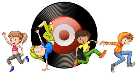 gente bailando: La gente bailando y disco en el fondo de la ilustración Vectores