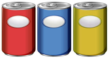processed: Three cans with different color labels illustration