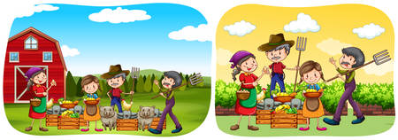 family outside house: Farmers and products on the farm illustration