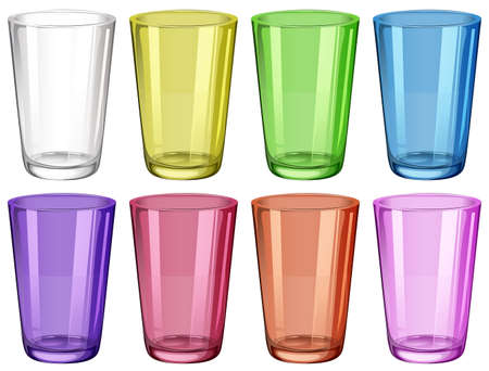 small group of objects: Set of glasses in different colors illustration