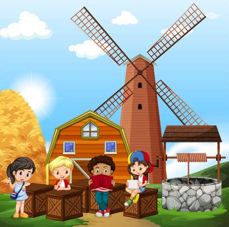 well: Children reading in the farm illustration Illustration