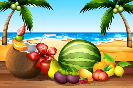Fresh fruits on the table by the beach illustration Illustration