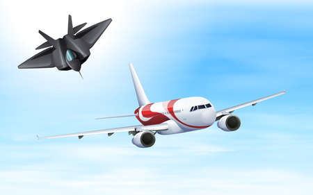 Fighting jet and airplane flying in sky illustration Illustration