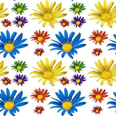 square image: Seamless backgroun with colorful flowers illustration