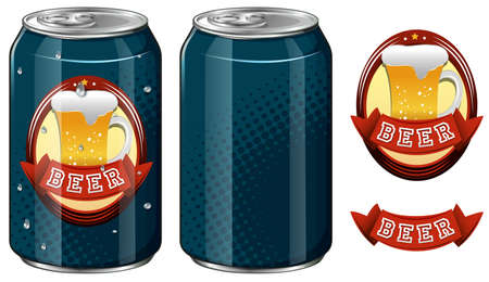 cold pack: Cans of beer and logo design illustration Illustration