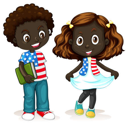 children art: African American boy and girl illustration