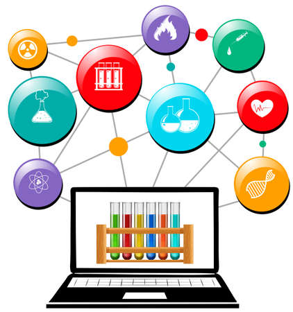 science symbols: Science symbols on computer screen illustration Illustration