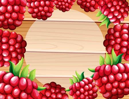 raspberry: Frame design with raspberries illustration