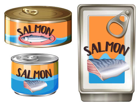 multiple objects: Salmon meat in aluminum cans illustration Illustration