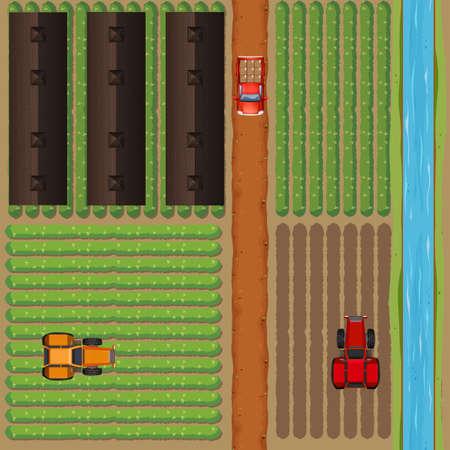 farmland: Aerial view of farmland by the river illustration