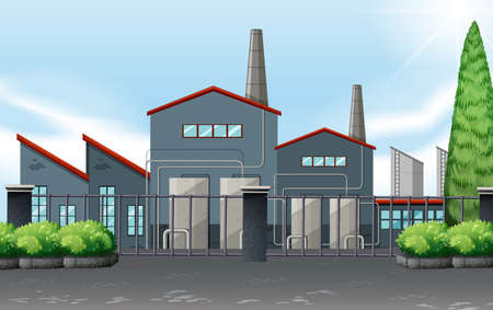 clipart chimney: Factory building behind the metal fence illustration