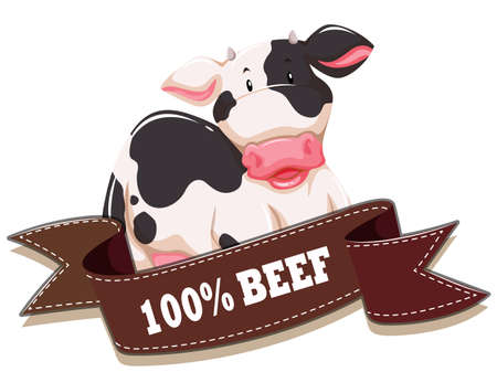 Label design with cow and ribbon illustration