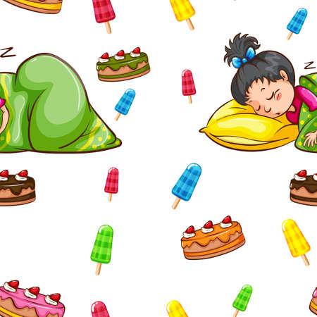 girl sleep: Seamless background with girll sleeping  illustration Illustration