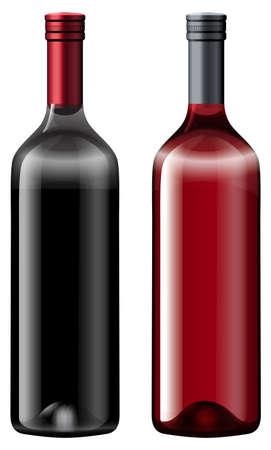 Two bottles fo wine illustration Векторная Иллюстрация