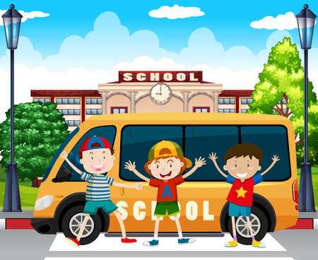 school boys: Boys standing by the school van illustration
