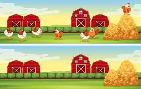 farmyard: Chickens and barn in the farmyard illustration