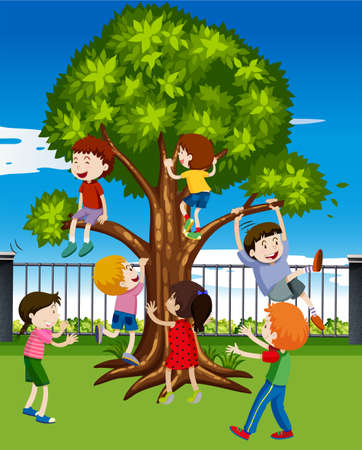Children climbing the tree in the park illustration
