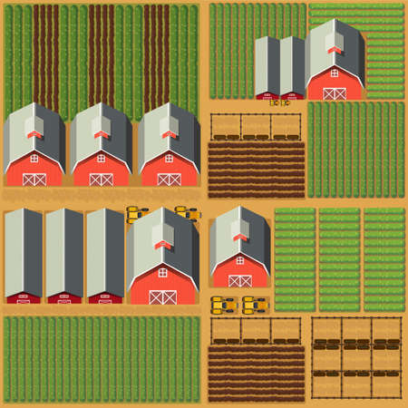 barns: Aerial scene with barns and crops illustration Illustration