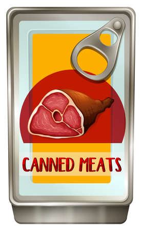 canned meat: Canned food with meats inside illustration Illustration