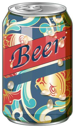 fancy design: Beer in fancy design can illustration