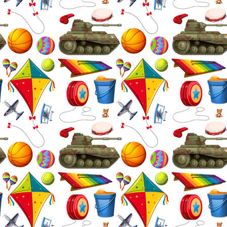 pail tank: Seamless background with many toys illustration